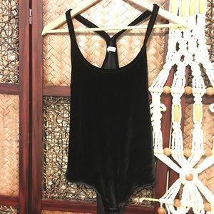 Madewell | Black Velvet Racerback Bodysuit